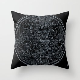 Constellations of Northern Hemisphere | White Ink on Black Archival Paper Throw Pillow