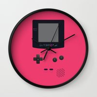 gameboy Wall Clocks featuring GAMEBOY Color - Pink Version by Cedric S Touati