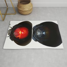 Red Warning Light Of A Railroad Signal Lamp Rug