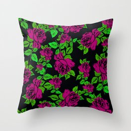 ROSES ROSES PINK AND GREEN Throw Pillow