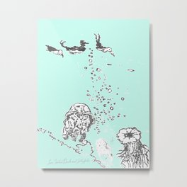 Two Tailed Duck and Jellyfish Mint Green Metal Print