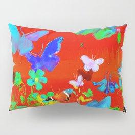 Red Butterflies & Flowers Pillow Sham