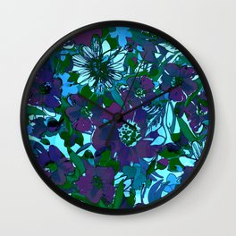 floral melodie in purple Wall Clock