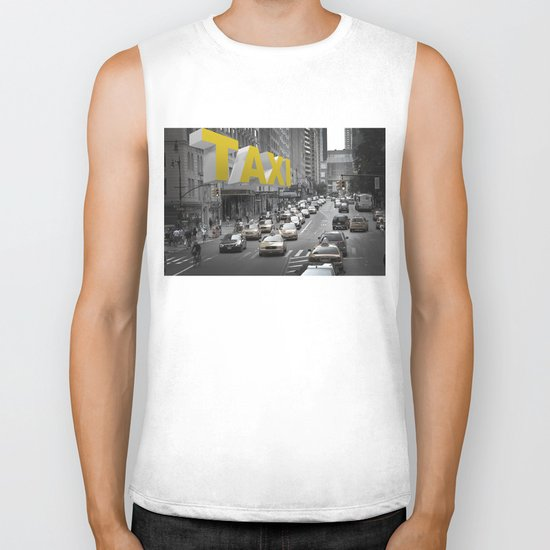 New York Taxi in the air Biker Tank