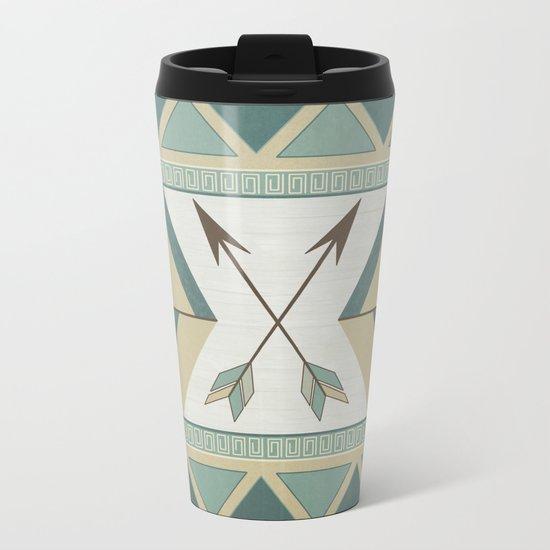 Aztec Pattern Arrows Metal Travel Mug