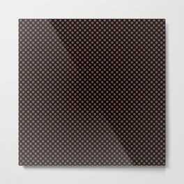 Black and Root Beer Polka Dots Metal Print