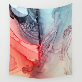Undertow Meets Lava- Alcohol Ink Painting Wall Tapestry