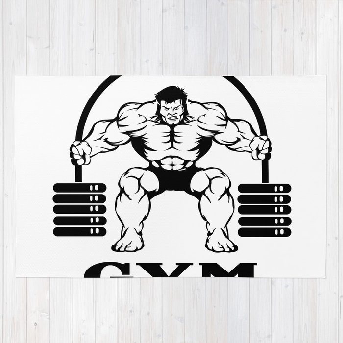 Bodybuilder With Barbell Rug By Marios