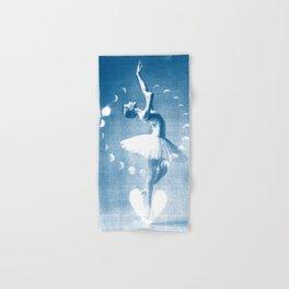 Ballerina and the Moon Phase, Ballet, Ballet Art, Blue Print, Ballet Print, Ballet Dancer Hand & Bath Towel