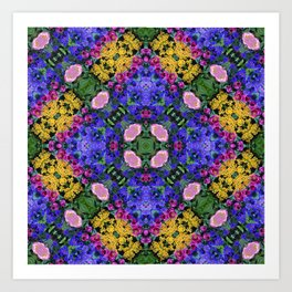 Floral Spectacular: Blue, Plum and Gold - repeating pattern, diamond, Olbrich Botanical Gardens, Mad Art Print