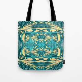 Glowing Gold Turquoise Contemporary Tribal Wall Hanging Tote Bag