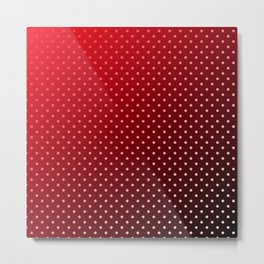 Carmine Red White and Black Faded Polka Dots Metal Print