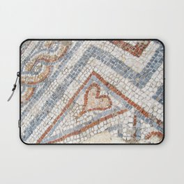 Mosaic Heart   Cute Red Blue and White Tile Old World Charming Decorative Cool Stone Photograph Laptop Sleeve