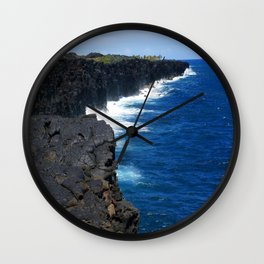 Lava cliffs and crashing waveat the end of Chain of Craters Road in Volcanoes National Park, Hawaii. Wall Clock