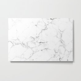 Marble Black and White Metal Print