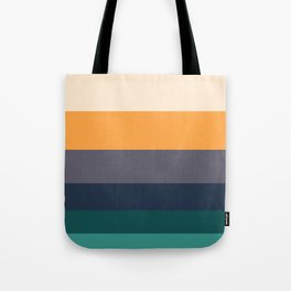 Mid Century Modern Minimalist Color Block Pattern Yellow Grey Green Colour Block Stripes Tote Bag