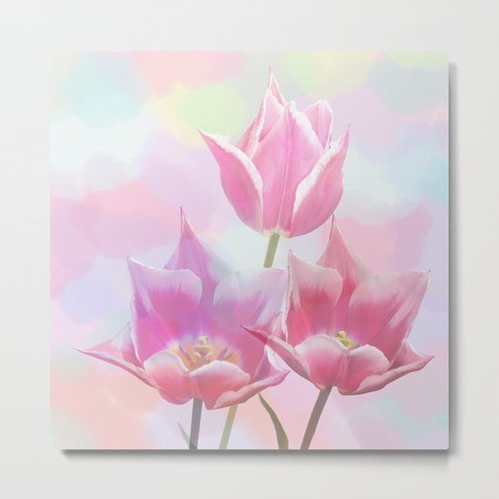 Painterly pastel spring with tulips Metal Print