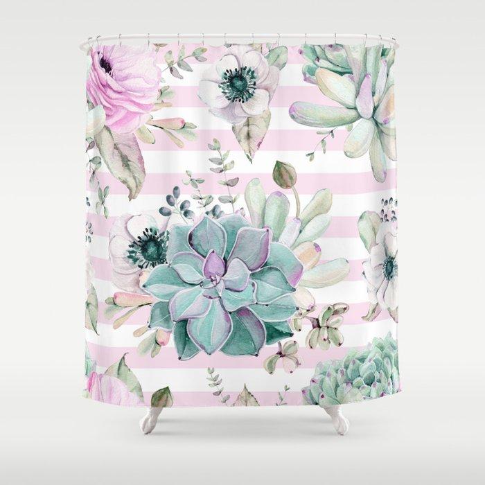 Simply Succulent Garden On Desert Rose Pink Striped Shower Curtain