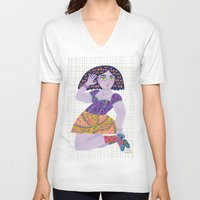 bow V-neck T-shirts featuring Bow Girl by Janna Morton