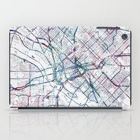 dallas iPad Cases featuring Dallas map by MapMapMaps.Watercolors