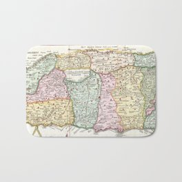 Vintage Map of Israel (1632) Bath Mat