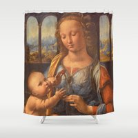 leonardo dicaprio Shower Curtains featuring Leonardo da Vinci by Palazzo Art Gallery