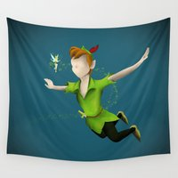peter pan Wall Tapestries featuring Peter Pan by JackEmmett