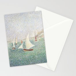 Entrance of The Port of Honfleur - Georges Seurat Stationery Cards