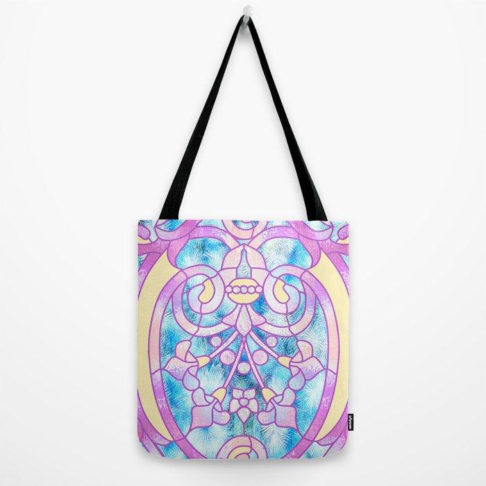 Art Nouveau Blue Pink And Yellow Batik Design Tote Bag By