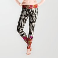 shower Leggings featuring Chevron Flora II by Bianca Green