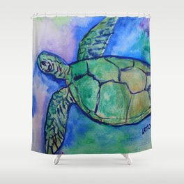 Sea Turtle Watercolor Painting Shower Curtain