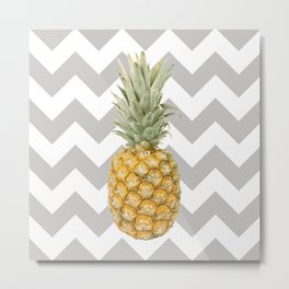 Pineapple & grey Metal Print