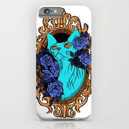 Neon Blue Hairless Sphynx Cat with Mystique Blue Roses and Golden Frame - Pet Portrait Line Tattoo iPhone Case