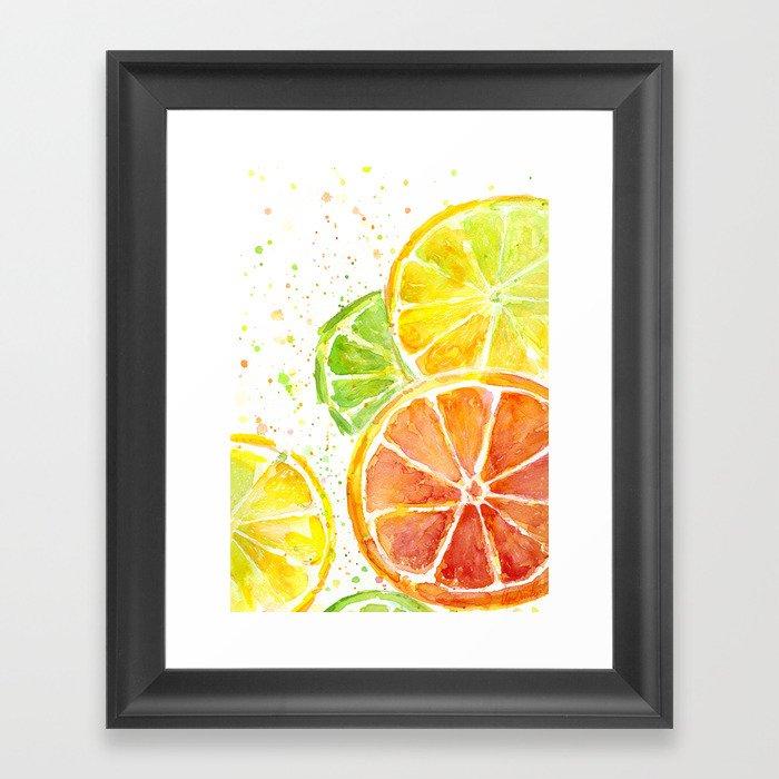 Fruit Watercolor Citrus Framed Art Print