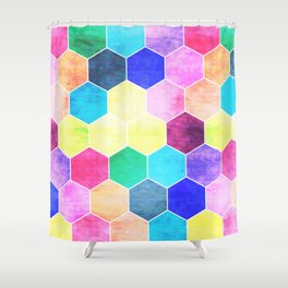 Honeycombs print, colorful hexagons Shower Curtain