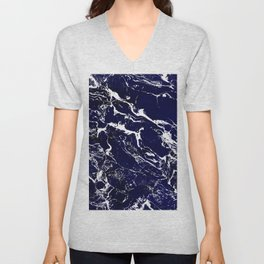 Modern Navy blue watercolor marble pattern Unisex V-Neck