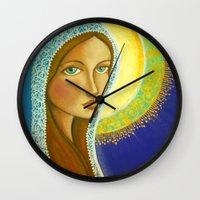 regina mills Wall Clocks featuring Salve Regina by Jaymee Laws