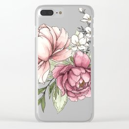 Watercolor Peony - Millennial Pink Peony Clear iPhone Case