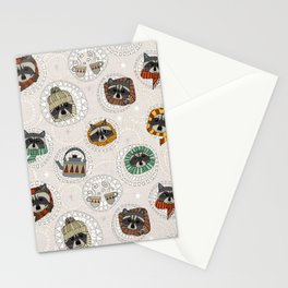 hygge raccoons Stationery Cards