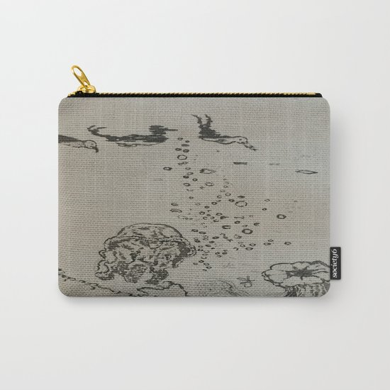 Under The Sea Green Black and White Carry-All Pouch