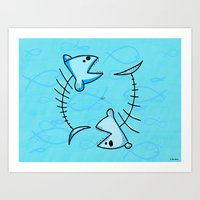 pisces Art Prints featuring Pisces by Giuseppe Lentini