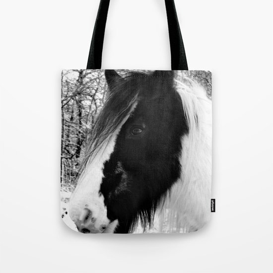 Horse. Black+White.Snow. Tote Bag