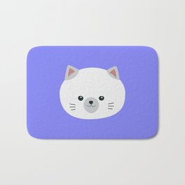 Cute white kitty with gray ears Bath Mat
