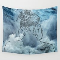 lonely Wall Tapestries featuring Lonely woman by Laure.B