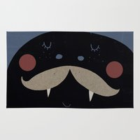 mustache Area & Throw Rugs featuring mustache by Maria Dek