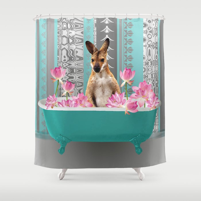 Kangaroo in Bathtub with lotus flowers Shower Curtain