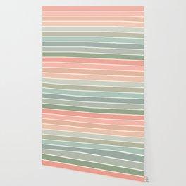 70s Stripe - pastel pink and mint, spring, pink stripes, desert, boho, dorm decor Wallpaper