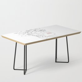 Minimal Line Art Woman with Magnolia Coffee Table