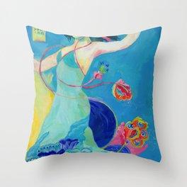 Blue Tibetan Poppy Goddess Throw Pillow