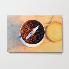 coffee beans in the coffee mill Metal Print